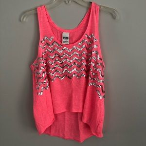 PINK chevron sequined hi low flowy tank